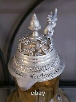 Antique German Theresienthal Glass Wine Jug Pewter Dragon Inscribed