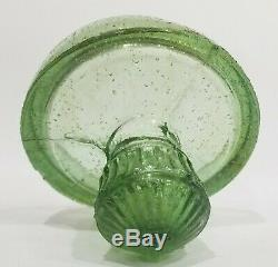 Antique Green Blown Glass Fruit Storage Apothecary Jar or Canister withGlass Lid