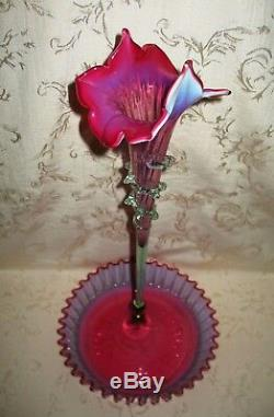 Antique Hand Blown 1880's Stevens & Williams Cranberry Opalescent Single Epergne