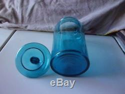Antique Hand Blown Blue Glass Apothecary Jar With LID