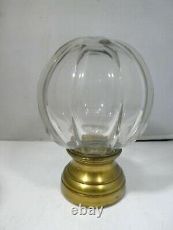 Antique Hand Blown Ribbed Glass Newel Post Finial