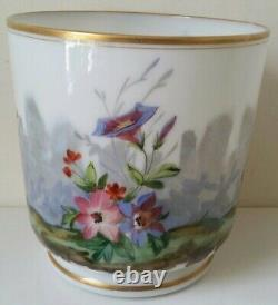 Antique Hand painted opaline blown glass French cachepot with bird and flowers