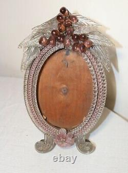 Antique Italian Venetian ornate hand blown glass floral oval picture table frame