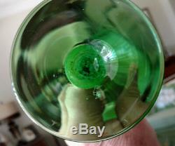 Antique Jack In The Pulpit Hand Blown Green & Gold Cased Glass 12 Tall Vase
