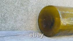 Antique Mold Blown Yellow Amber Glass Carboy Demijohn Bottle