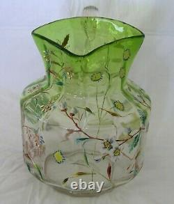 Antique Moser Bohemian Clear Green Floral Enameled Glass Pitcher