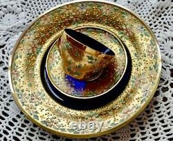 Antique Moser Enameled Glass 5 Piece Demitasse Cup Saucer and Plates 1880s RARE