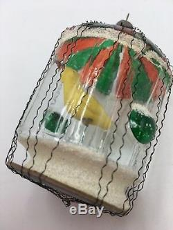 Antique Moveable Yellow Bird Blown Glass Cage Christmas Ornament Wire Wrap Rare