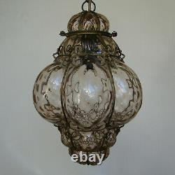 Antique Murano Hand Blown Caged Glass Hanging Ceiling Light Lantern Vintage