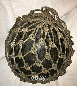 Antique Nautical Hand Blown Glass Buoy Japanese Fishing Float with Pontil Scar