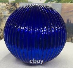 Antique Or Vintage Witches Ball. Kugel Bauble. Ridged Blue Blown Glass