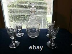 Antique Pittsburgh 1830 blown glass decanter and 4 wines Strawberry and Diamond