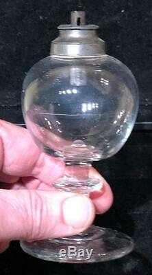Antique Sandwich Glass Free-Blown Toy Lamp with Blown Glass Base & Burner