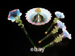 Antique Victorian Art Glass Cranberry, Blue And Green EPERGNE