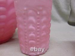 Antique Victorian Blown Glass Embossed Pink Pitcher & 4 Tumblers Set