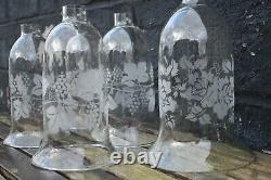 Antique Victorian Hand Blown Glass Vine Etched Hurricane Bell Cloche Shade Dome