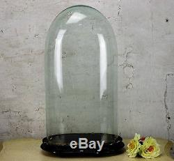 Antique Victorian Oval Hand Blown Glass Globe Dome Doll Clock Display 17.71 H