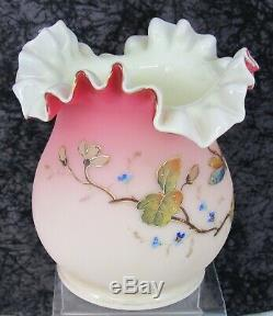 Antique Victorian Thomas Webb Peachblow English Blown Glass Vase withDragonfly