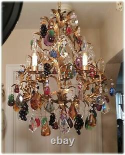Antique Vintage Italian Gilded Large Tole Chandelier With Blown Glass Fruits