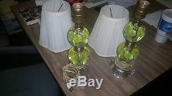 Antique collection pair of 1970's style glass blown lamps