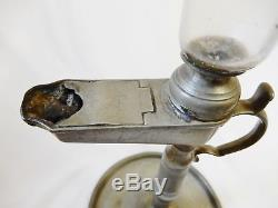 Antique french or German 1800 Glass hand blown lace makers oil lamp zinc spelter