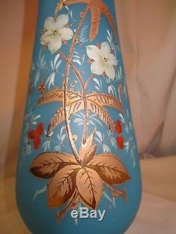 Antique hand blown blue Satin Glass Vase gold enameling hand painted with pontil
