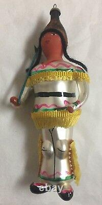Antique hand blown glass Ornaments-Cowboy and Indian Very old & rare De Carlini