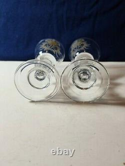 Antique18th. Cent. Pr. Hand blown baluster wine glasses. With engraved family crest