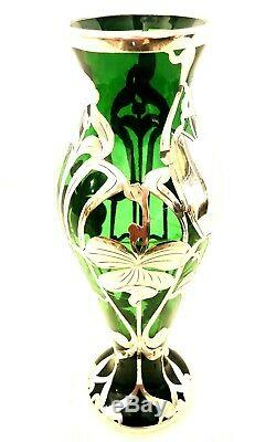Art Nouveau Hand Blown Emerald Green Art Glass Vase with Sterling Silver Overlay
