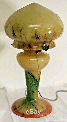 Art Nouveau Table Lamp Hand Made Blown-Glass Amber/Multi color