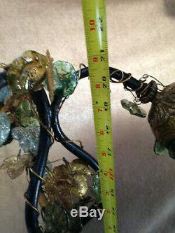Art Nouveau brass table lamp with 3 hand blown glass grape cluster shades antique