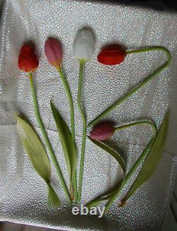Bouquet Antique Satin Art Glass German Tulips Bimini Glass with Leaves 1920s