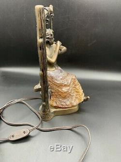 Brass And Blown Glass Art Deco Lamp Woman Lady On Swing Rare! Tiffany
