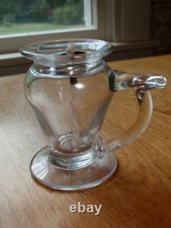 C. 1800s Small Free-Blown Clear Glass Footed Finger Whale Oil Lamp with Burner