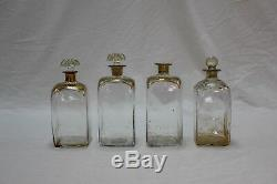 C. 1820's Mahogany Tantalus with 4 Hand Blown Gilt Decorated Decanters