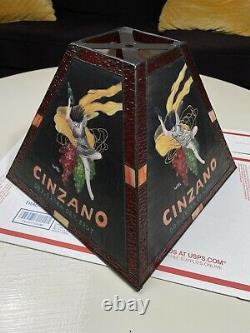CINZANO Extra Dry Brut Vintage 1920 Hand Blown Glass Hand Painted Lamp Shade