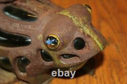 Cast Iron Frog Tealight Vintage Blown Glass Green candle lamp lantern Marble eye