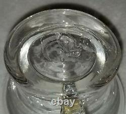 Circa 1850's Miniature Blown Glass Whale Oil Finger Lamp Footed with Pontil Mark