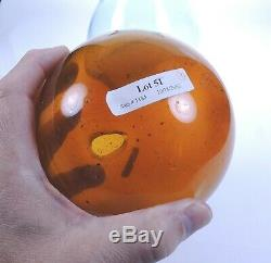 Clevenger Brothers Free-blown Rose Jar with witch ball South Jersey glass 1935-45