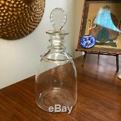 Colonial Williamsburg Mouth Blown Glass Ring Neck Wine Decanter Applied Rings