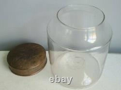 Early American, Hand-Blown Glass Painted Tin Lid Storage Jar, Pantry, Apothecary