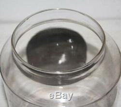 Early Antique Apothecary Blown Glass Pantry Storage Jar Tin LID High Pontil