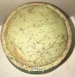 Early Blown Clear Glass Store Pantry Storage Jar Lid Apothecary Green