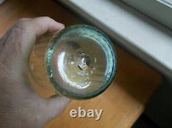 Early Blown Green Flint Glass Flip Wheel Cut Ships Ribbed With Rough Pontil Scar