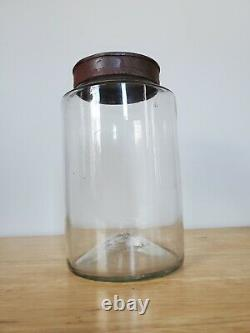 Early Primitive 19th Century Blown Glass Apothecary Pantry Jar With Tin Lid Open P