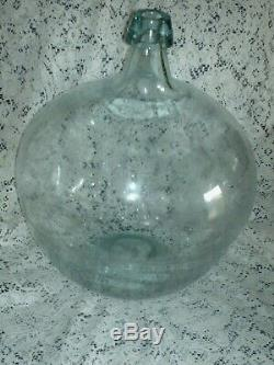 Extra Large Antique DEMIJOHN CARBOY Hand Blown Glass Bottle 16 X 14