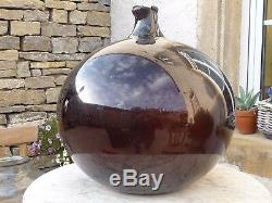 Free-blown monumental french antique amber glass demijohn carboy 20.5 inches