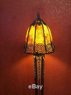 French Art Deco Style Wrought Iron Floor Lamp & Blown Glass Shade