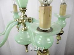 French Chandelier Green Opaline Hand Blown Art Glass 6 Lights Arms Gorgeous HTF