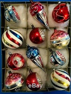 German Antique Blown Glass Feather Tree Xmas Ornaments 1930-40s Box of 12